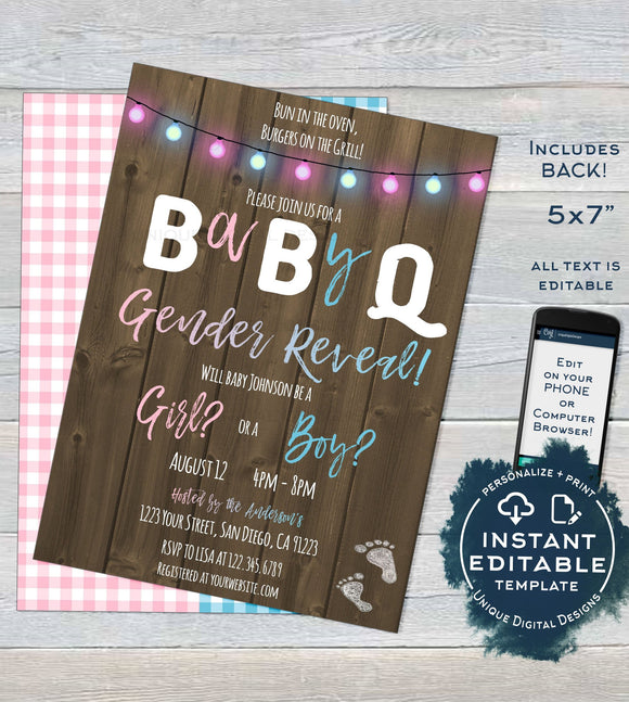 Rustic BabyQ Gender Reveal Invitation, Editable He or She BBQ, Pink or Blue Baby Shower Party, Wood Personalized Printable