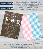 Rustic BabyQ Gender Reveal Invitation, Editable He or She BBQ, Pink or Blue Baby Shower Party, Wood Personalized Printable INSTANT DOWNLOAD