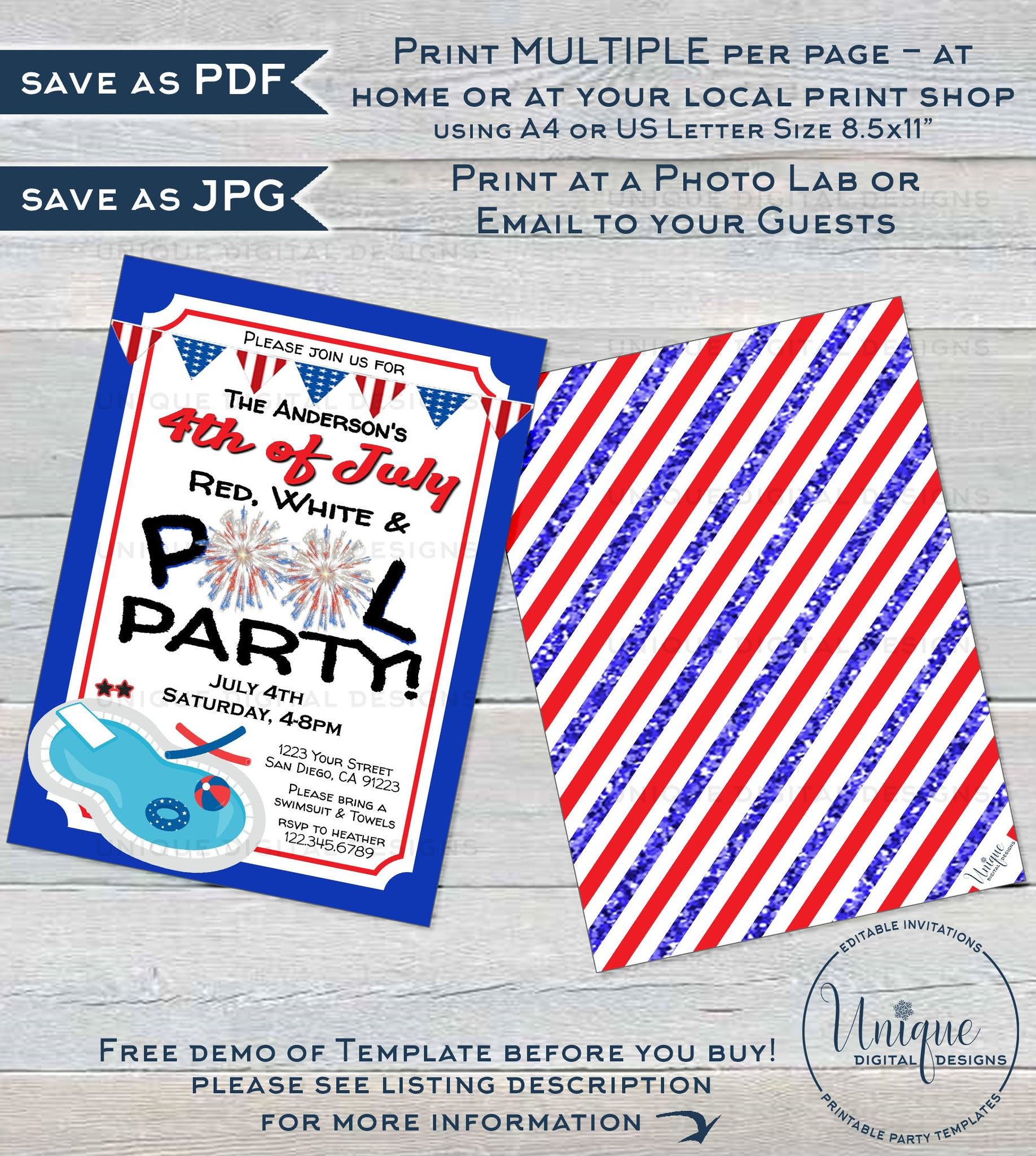 Editable 4th Of July Pool Party Invitation Summer Red White