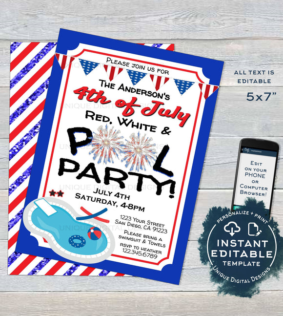 Editable 4th of July Pool Party Invitation, Summer Red White & Pool Party, July 4th Pool Birthday party Firework Printable