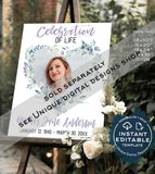 Celebration of Life Poster, Editable Funeral Memory Board Personalize Funeral Welcome Sign Printable Memorial   UMFL