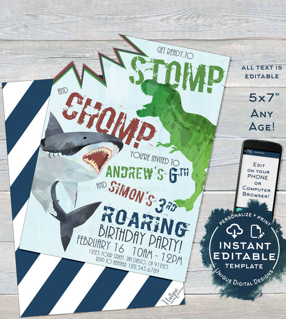 Sibling Dinosaur Shark Birthday Invitation, Joint Editable Brother Birthday Invite, Boy Shark Attack Stomp Chomp, Printable