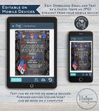 Red White and Due, Editable 4th of July Gender Reveal Invitation, Firework Baby Shower, Personalized bbq Printable, Custom