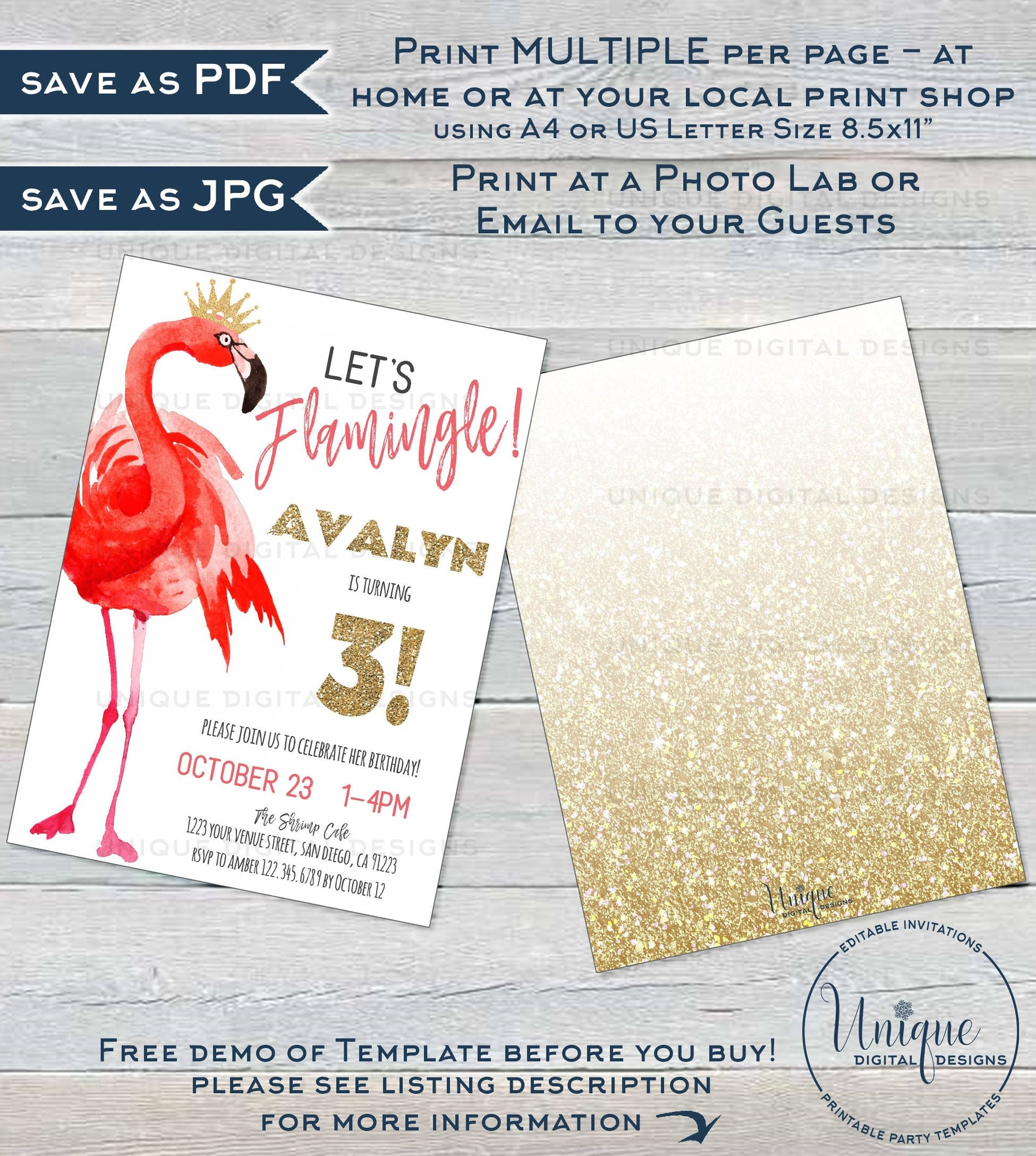 picture relating to Printable Flamingo Template identify Will allow Flamingle Birthday Occasion Invitation Template, Editable