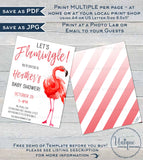 Lets Flamingle Baby Shower Invitation , Editable Baby Girl Shower Invite Personalized Pink Flamingo Party Printable