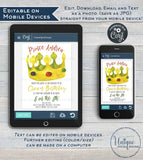 Crown Birthday Invitation, Editable Golden Birthday Invite, Turn Age of your Birthday, Boy Prince King,  Printable