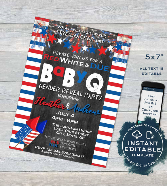Stars and Stripes BabyQ Gender Reveal Invitation, Editable 4th of July Firecracker Baby Shower He or She bbq, diy Printable INSTANT DOWNLOAD