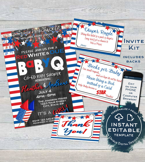 BabyQ Stars and Stripes Baby Shower Invitation KIT, Editable 4th of July Gender Reveal Diaper Raffle Books for Baby Inserts INSTANT DOWNLOAD