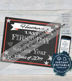 Editable First day of School Sign, reusable 1st day, School Last Day Graduation Rainbow Chalkboard ANY Grade Custom Printable