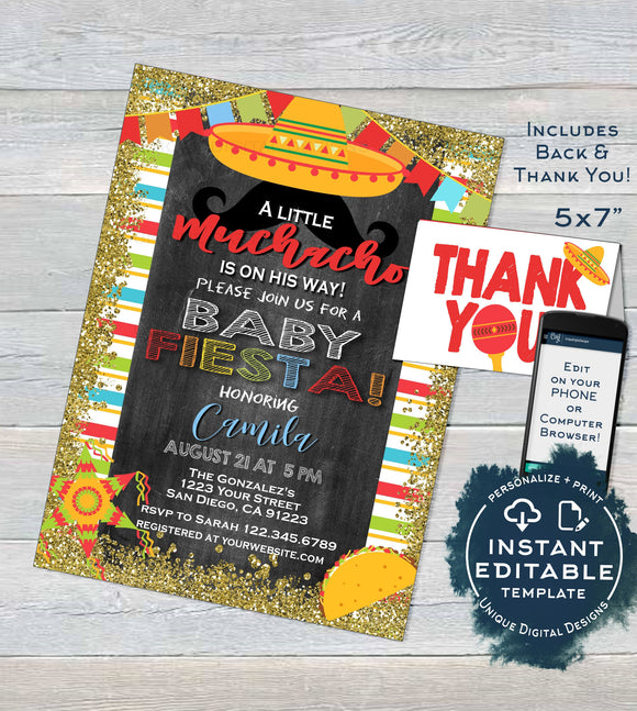Little Muchacho Baby Shower Invitation, Editable Baby Fiesta Invite, Taco bout a Baby Cinco de Mayo, Printable