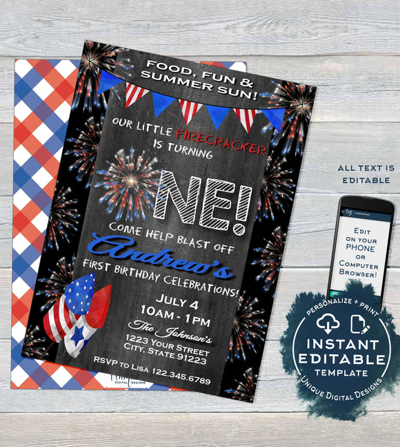 Firecracker Editable First Birthday Invitation, 4th of July 1st Birthday Invite, One Firework Chalkboard Template Printable INSTANT ACCESS