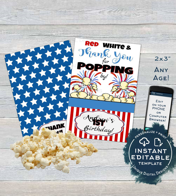 4th of July Popcorn Tag, Editable Popcorn Party Favor Labels, Food Tag Birthday Thank You for Poppin By, Printable Custom INSTANT DOWNLOAD