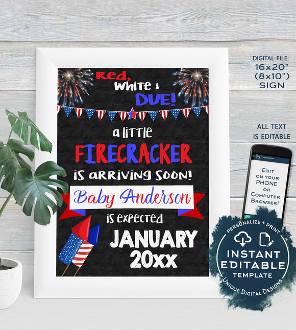 4th of July Pregnancy Announcement Sign, Firecracker Theme, July 4th Baby Announcement, Printable Chalkboard Template INSTANT EDITABLE 16x20