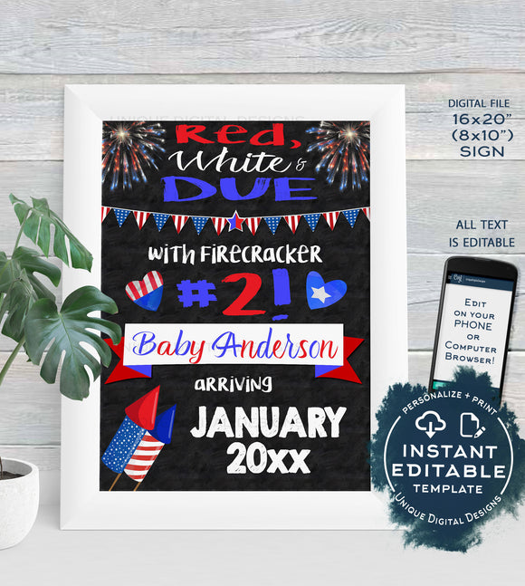Baby #2 4th of July Pregnancy Announcement Sign Firecracker Theme July 4 Baby Arriving Printable Chalkboard