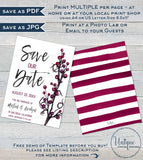 Save our Date Template Invitation, Editable Plum Wedding Invite, Purple Wedding Watercolor Save the Date Postcard Printable INSTANT DOWNLOAD