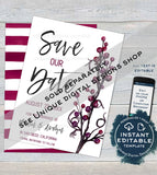 Editable Rose Gold Save the Date Template Invitation, Save our Date Wedding Invite, Elegant Wedding Postcard Printable INSTANT DOWNLOAD