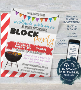 Block Party Invitation Template, Editable Backyard Summer BBQ Grill Out, Neighborhood Street Party, diy Printable Template INSTANT ACCESS