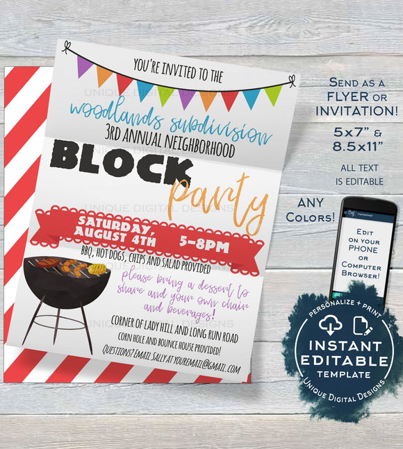 Block Party Invitation Template, Editable Backyard Summer BBQ Grill Out, Neighborhood Street Party, diy Printable Template INSTANT DOWNLOAD