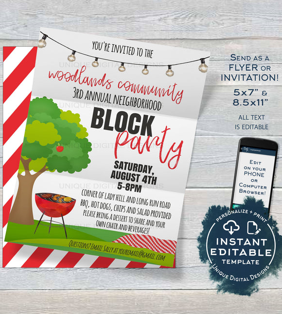 Editable Block Party Invitation Template, Neighborhood Street Party, Backyard Summer BBQ Grill Out hoa Custom diy Printable INSTANT DOWNLOAD