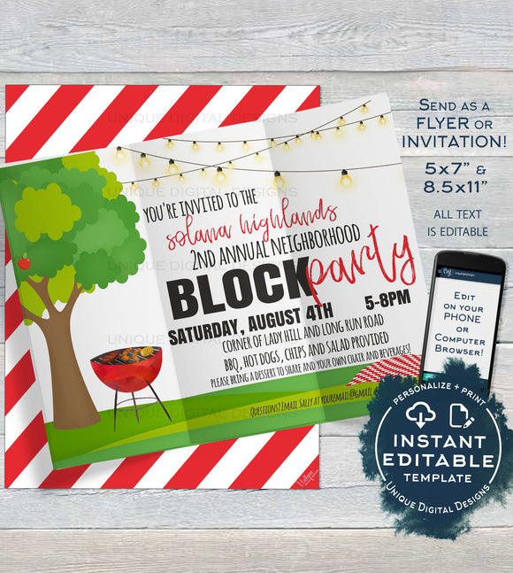 Block Party Invitation Template, Editable Neighborhood Street Party Flyer, Backyard Summer BBQ Grill Out Custom Printable INSTANT DOWNLOAD