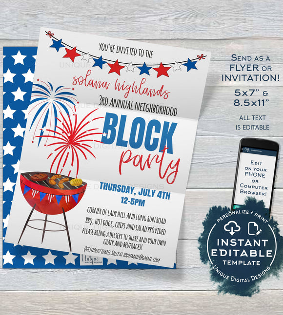 Editable Block Party Flyer, 4th of July Neighborhood Street Party Invite, Backyard Summer BBQ Grill Out, Printable Template INSTANT DOWNLOAD