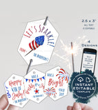 Editable Sparkler Tag , 4th of July Printable Favor Tags, Personalized Let's Sparkle Birthday Party Thank you diy