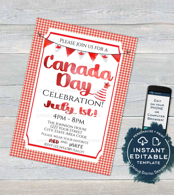 Oh Canada Day Invitation, Editable Canada Day BBQ Invite, Canada Eh July 1 Flag Summer Party Celebration Custom Personalize INSTANT DOWNLOAD