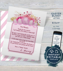 Girls Easter Bunny Letter, Editable Letter from the Easter Bunny Note,  Spring Easter Rabbit Trap Message diy Personalize Printable