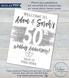 50th Anniversary Welcome Sign, Editable Wedding Anniversary Banner, ANY Year Decoration Silver Glitter, Printable