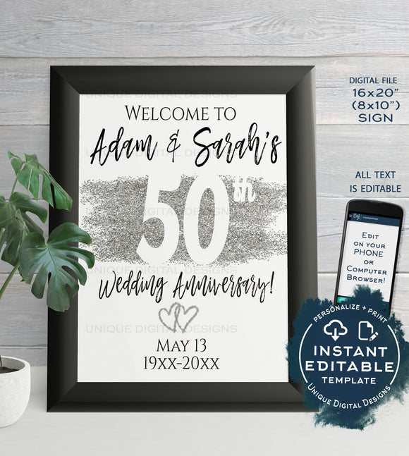 50th Anniversary Welcome Sign, Editable Wedding Anniversary Banner, ANY Year Decoration Silver Glitter, Printable Template INSTANT DOWNLOAD