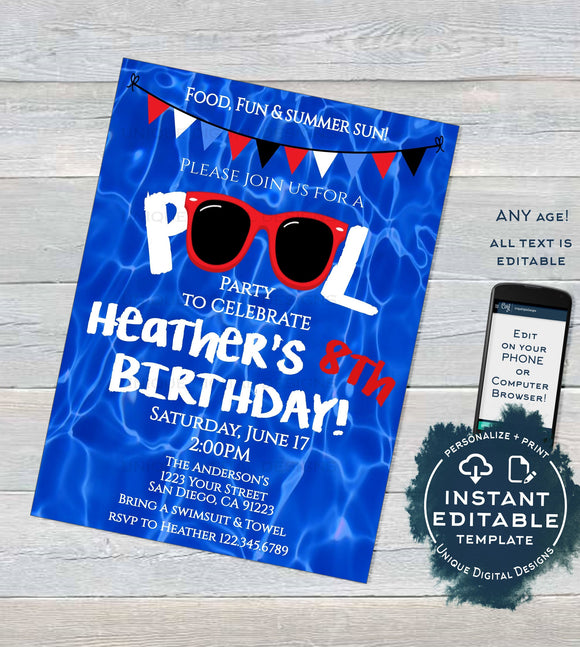 Editable Pool Party Invitation, Summer Splash Sunglasses Red White & Blue Party, ANY Age Pool Birthday party diy Printable INSTANT DOWNLOAD
