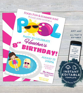 picture relating to Girl Birthday Party Invitations Printable named Editable Pool Bash Invitation, Summer time Splish Splash Women of all ages