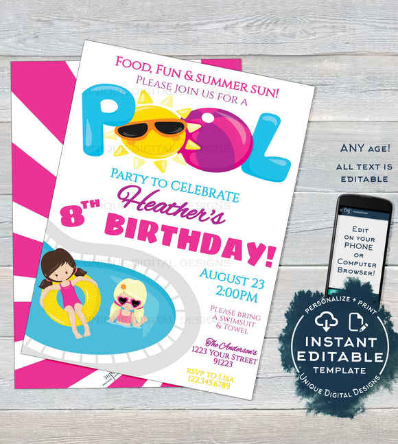 Editable Pool Party Invitation, Summer Splish Splash Girls Birthday Pool Party ANY Age Pool Birthday Party Custom Printable