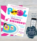 Editable Pool Party Invitation, Summer Splish Splash Girls Birthday Pool Party ANY Age Pool Birthday Party Custom Printable INSTANT DOWNLOAD