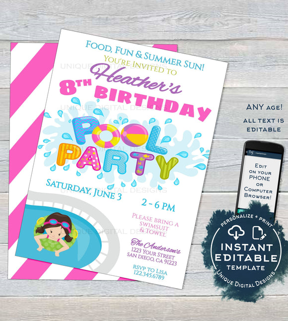 Editable Pool Party Invitation, Girls Summer Birthday Pool Party, ANY Age Pool Birthday Party Splash Swim, Custom Printable INSTANT DOWNLOAD