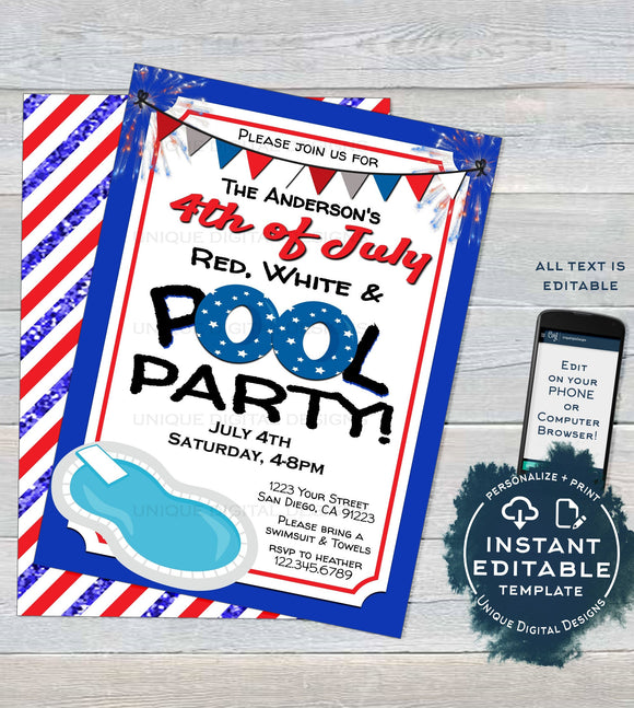 Editable 4th of July Pool Party Invitation, Summer Red White and Pool Party July 4th Pool Birthday party Printable Template INSTANT DOWNLOAD