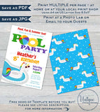 Editable Pool Party Invitation, Unicorn Birthday Pool Party, ANY Age Rainbow Birthday Party, Girls Party Printable Template INSTANT DOWNLOAD