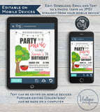 Editable Party in the Park Invitation , Picnic Birthday Party, Backyard Summer BBQ Grill Out Neighborhood Printable