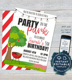Editable Party in the Park Invitation Template, Picnic Birthday Party, Backyard Summer BBQ Grill Out Neighborhood Printable INSTANT DOWNLOAD