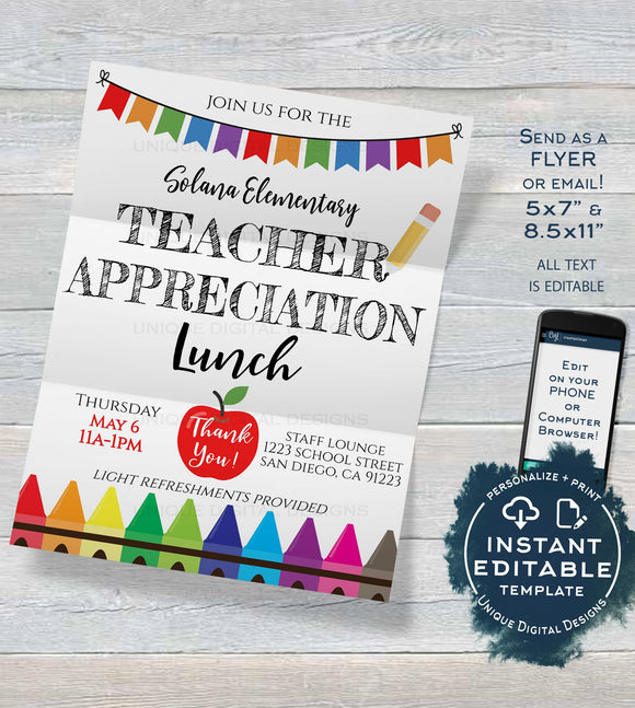 Teacher Appreciation Lunch School Invitation, Editable School Staff Appreciation Luncheon Invite, PTA School Flyer Template INSTANT DOWNLOAD