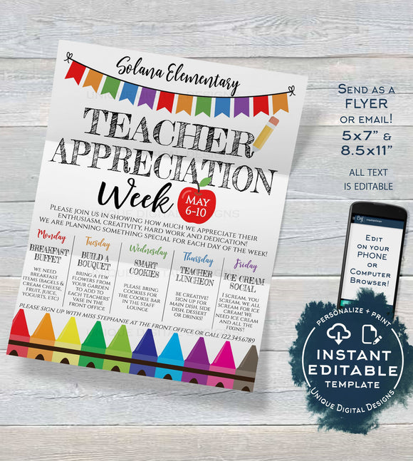 Teacher Appreciation Week Invitation, Editable School Staff Appreciation Week Schedule of Events Invite, PTA Flyer Template INSTANT DOWNLOAD