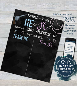 Pistols or Pearls Gender Reveal, Old Wives Tales & Cast Vote Signs, Editable He or She Chalkboard, What will Baby Printable