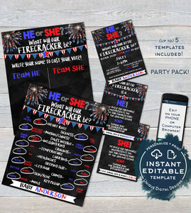 4th of July Gender Reveal Firecracker Theme BUNDLE, Editable Invitation Old Wives Tales Cast Vote Signs Thank You Printable INSTANT DOWNLOAD