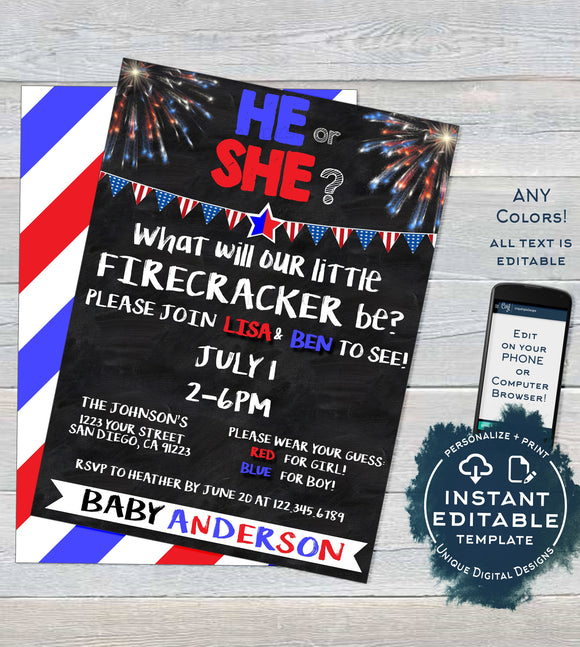 4th of July Firecracker Gender Reveal Invitation, Editable Baby Shower July 4th red white due, Custom Chalkboard Printable INSTANT DOWNLOAD