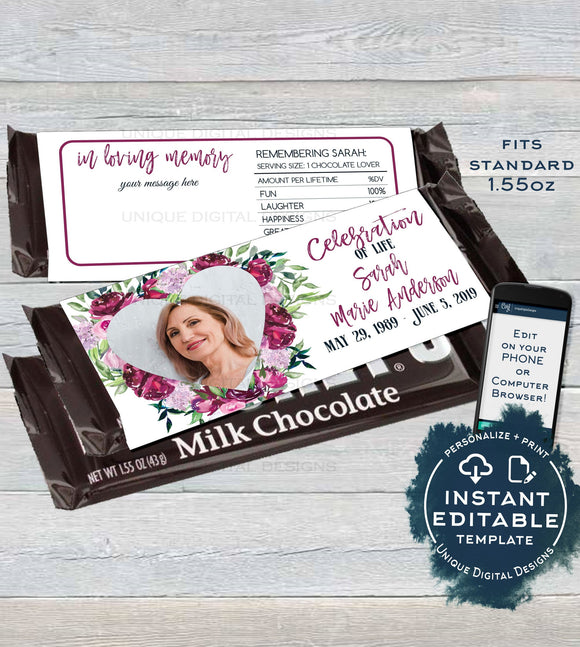 Celebration of Life Funeral Keepsake, Editable Chocolate Bar Wrapper with photo, in Memory Candy Bar, Printable  1.55oz UMFL