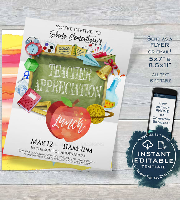 Editable Teacher Appreciation Lunch School Invitation, School Staff Appreciation Luncheon Invite, PTA School Flyer Template INSTANT DOWNLOAD