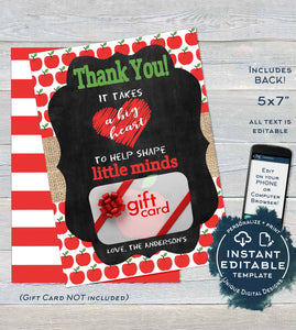 image relating to Gift Not Included Printable called Editable Instructor Present Card holder, Workers Thank Yourself Card, Take pleasure in Apple Instructor Appreciation Chalkboard, Printable Template Quick Down load