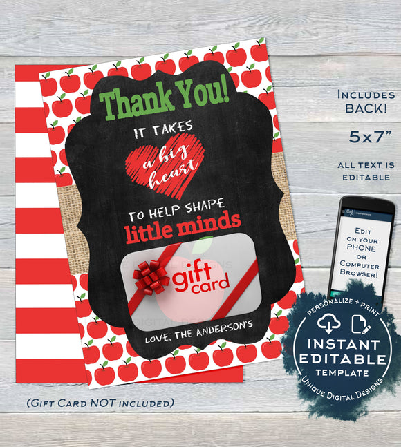 Editable Teacher Gift Card holder, Staff Thank You Card, Love Apple Teacher Appreciation Chalkboard, Printable Template INSTANT DOWNLOAD