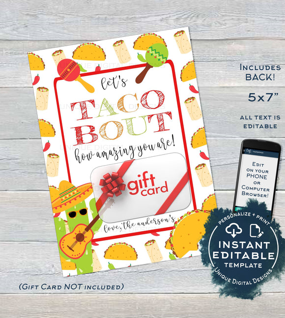 Lets Taco Bout Gift Card holder, Teacher Thank You Card, Printable Fiesta Staff Appreciation, Digital Printable Template INSTANT EDITABLE