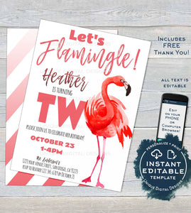 Lets Flamingle Birthday Invitation, Editable 2nd Birthday Flamingo Invite Pink Girl Second Birthday Printable Template INSTANT DOWNLOAD UBFL